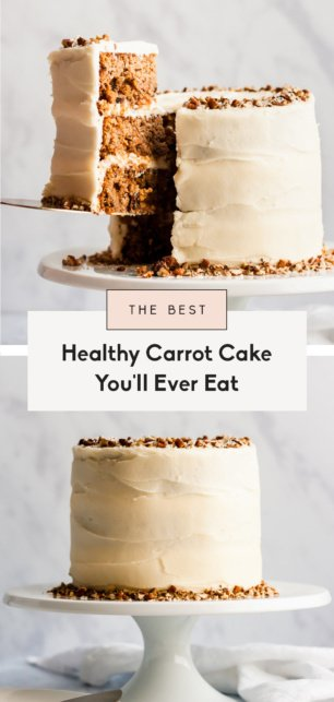 collage of the best healthy carrot cake