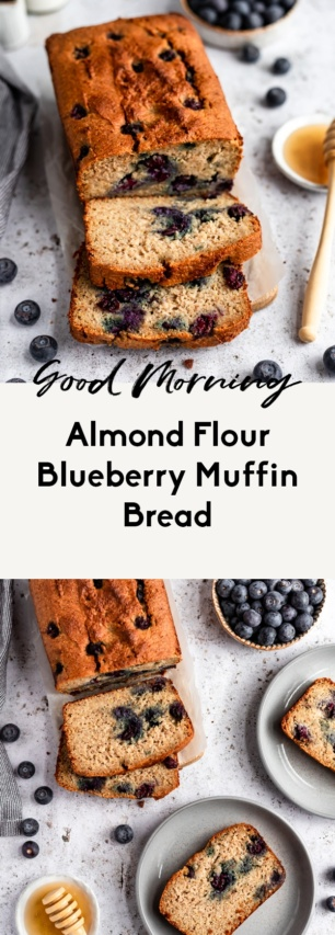 collage of healthy blueberry bread