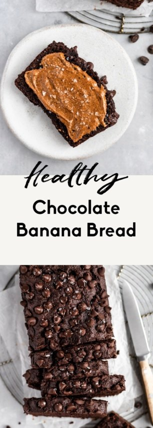 collage of healthy chocolate banana bread