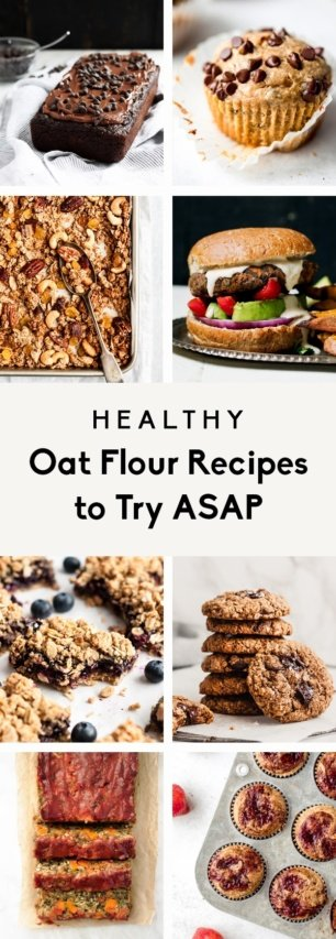 collage of healthy oat flour recipes