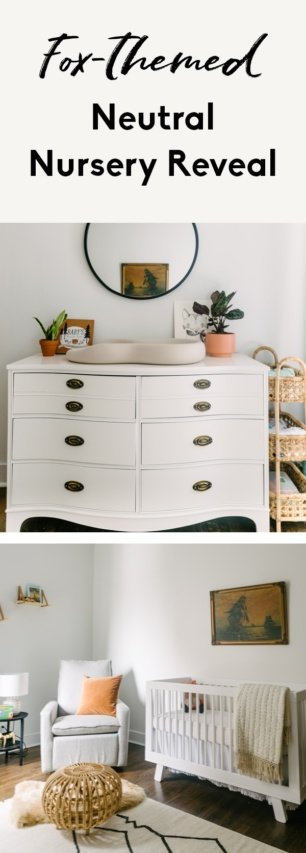 collage of a neutral nursery reveal