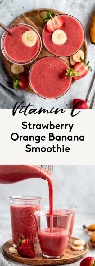 collage of a vegan strawberry orange banana smoothie recipe