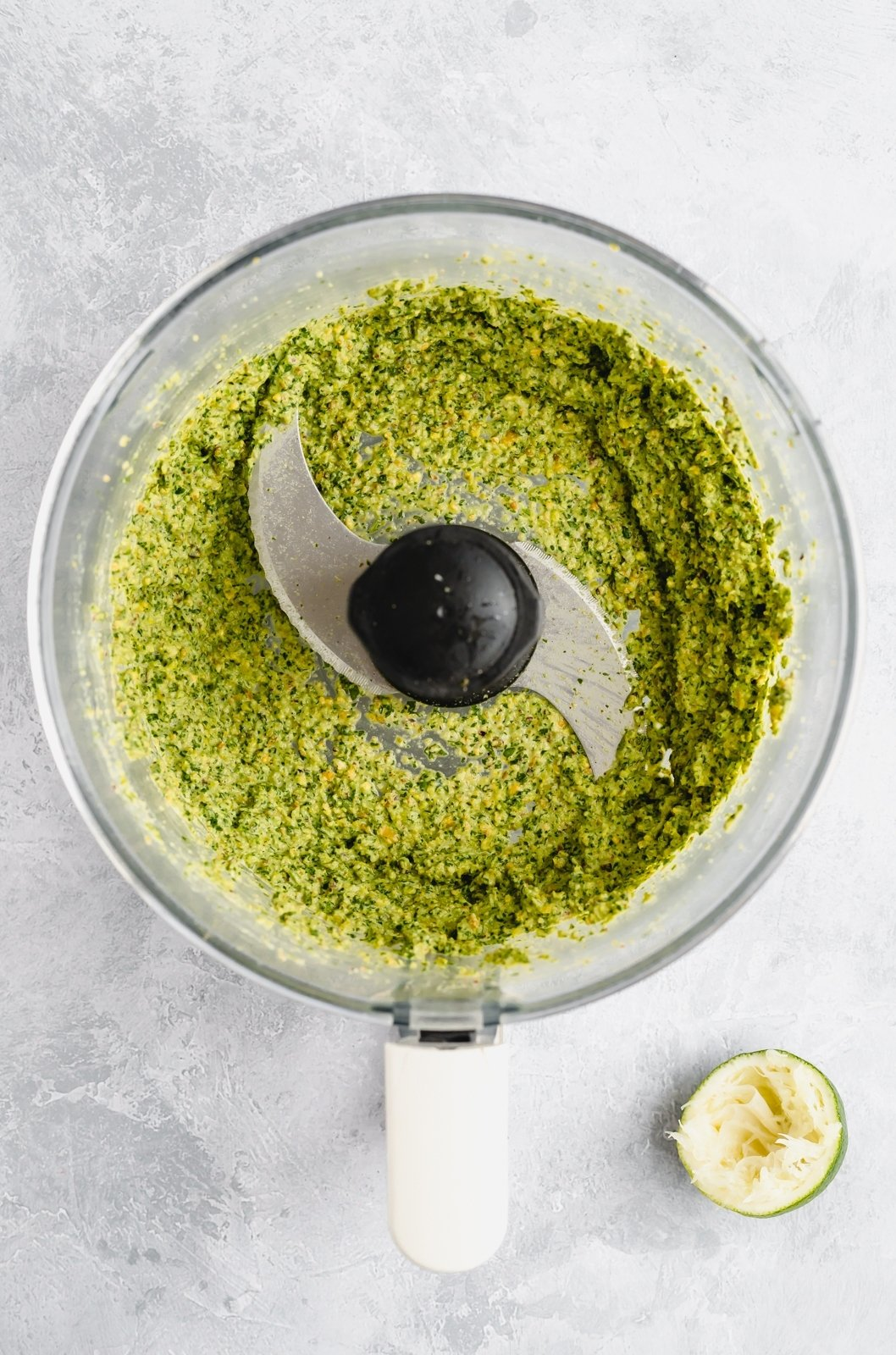 healthy pistachio pesto in a food processor