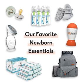 collage of newborn essentials