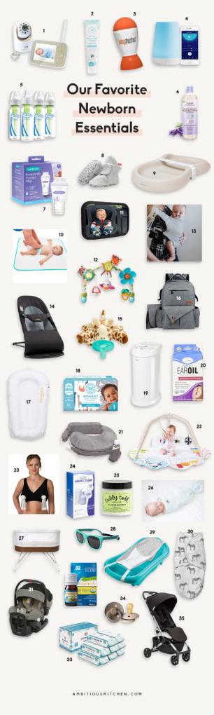 collage of newborn baby essentials