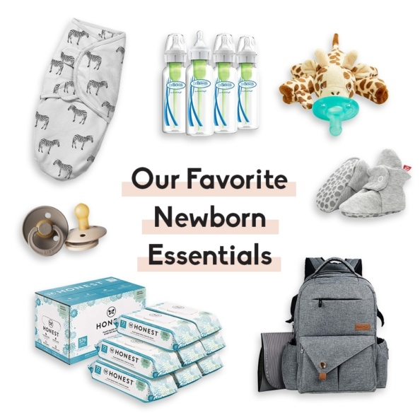 collage of newborn baby essentials with text overlay