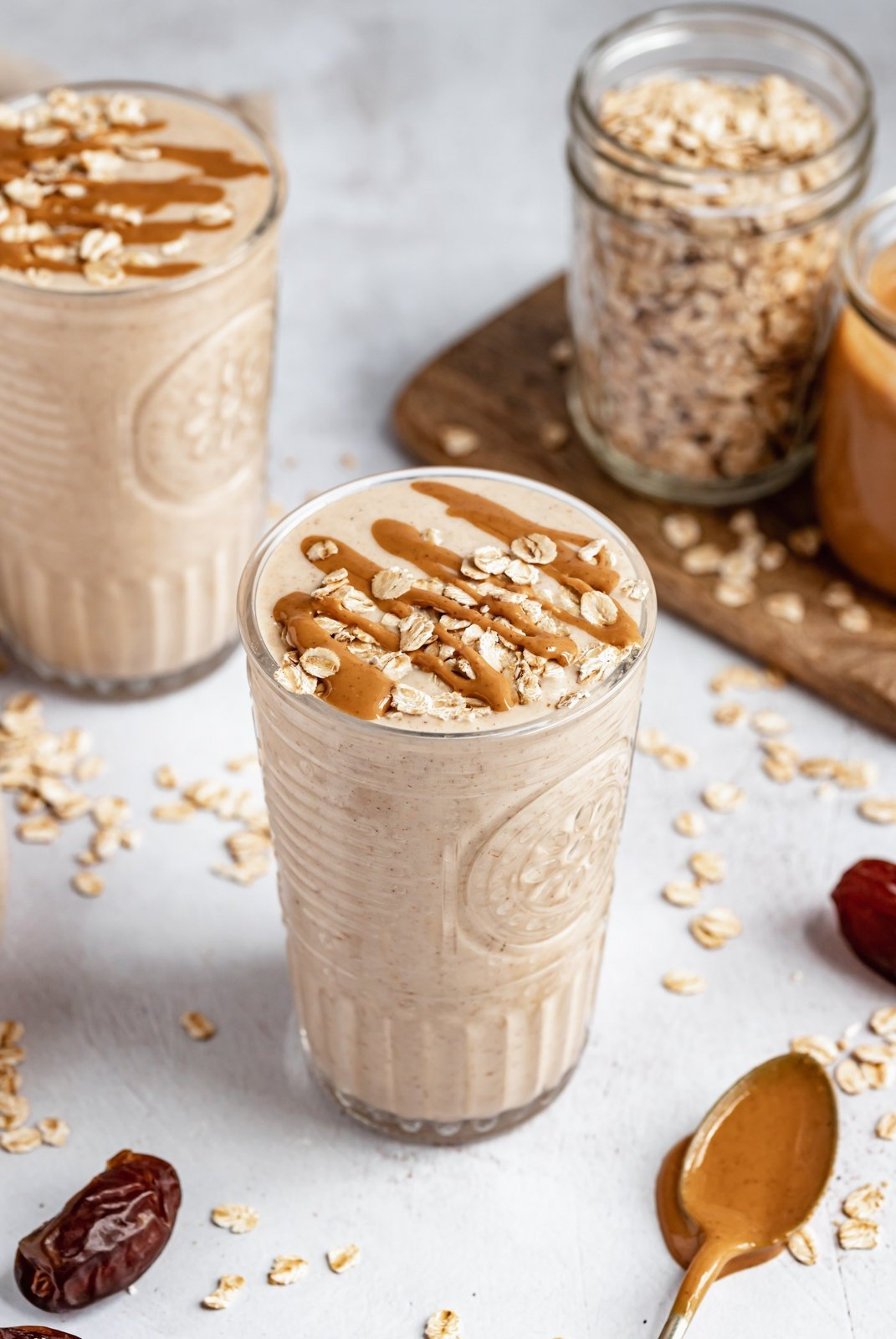 healthy peanut butter oatmeal cookie shake in glass