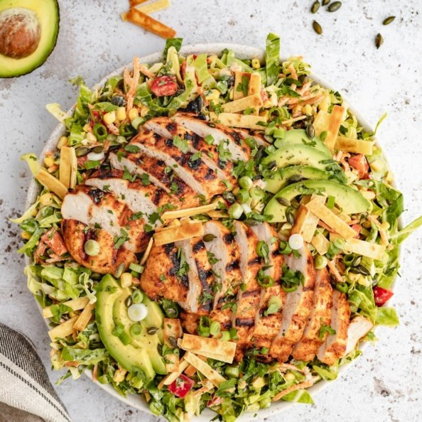 healthy chopped chicken salad in a bowl