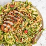 chopped chicken cabbage salad in a bowl