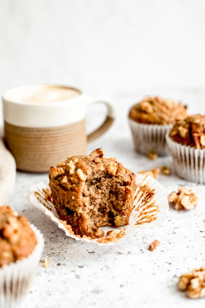 healthy banana muffin with a bite taken out