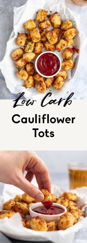 collage of low carb cauliflower tots