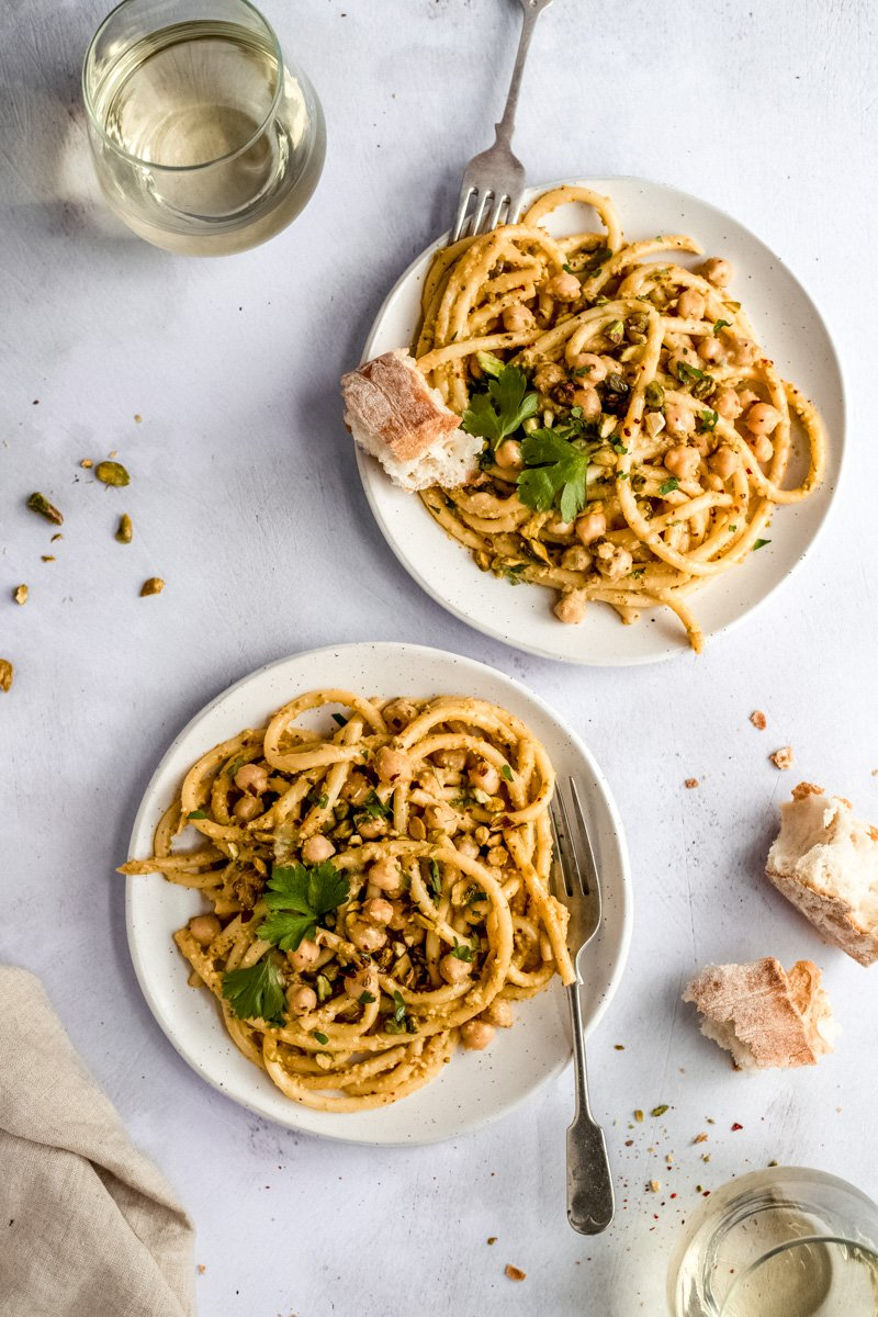 pasta with chickpeas on two plates