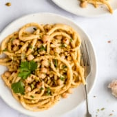 brown butter pasta with chickpeas on a plate
