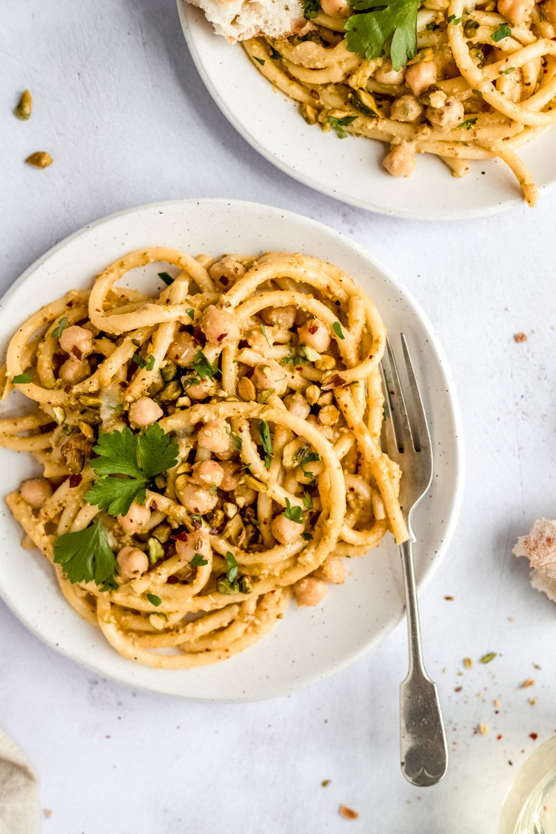 pasta with chickpeas on a plate with a fork