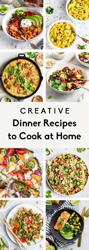 collage of creative dinner recipes