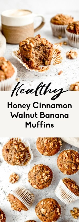 collage of healthy banana muffins
