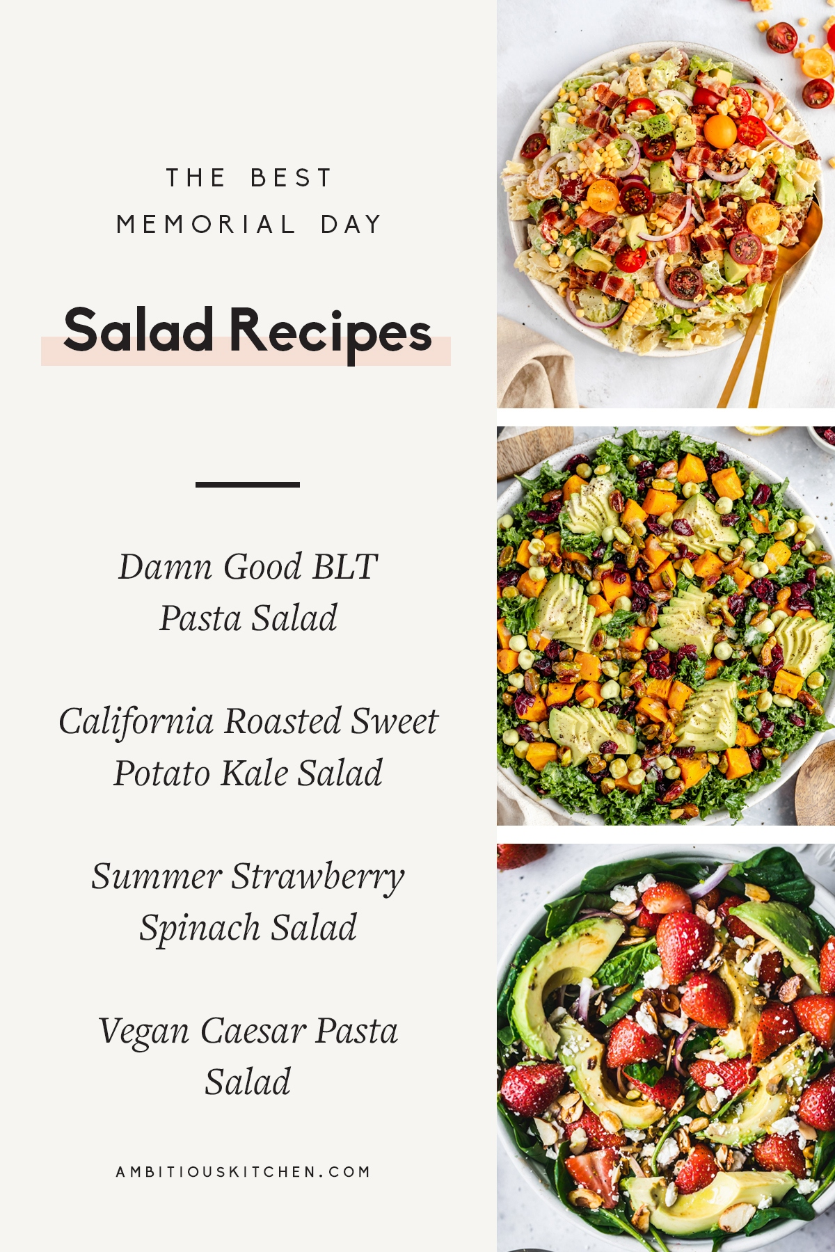 collage of memorial day salad recipes