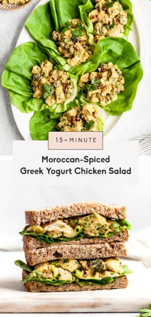 collage of greek yogurt chicken salad