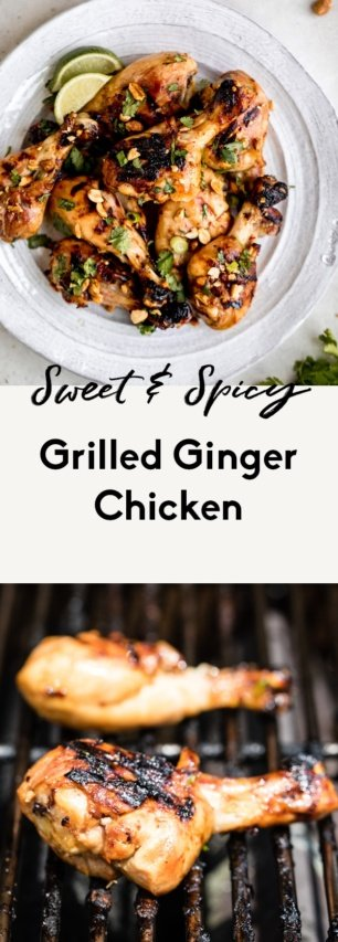 collage of grilled ginger chicken