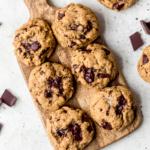 grain free peanut butter cookies on a wooden board