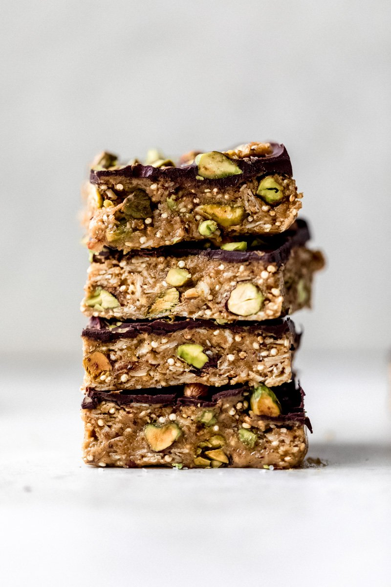 stack of healthy chocolate quinoa crunch bars