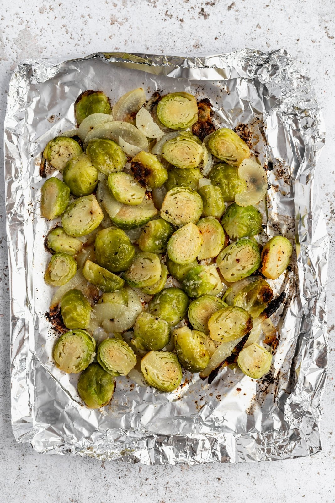 grilled brussels sprouts in a foil pack