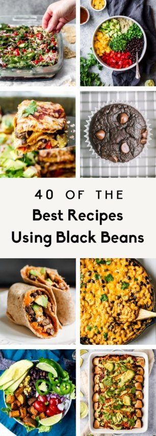 collage of black bean recipes