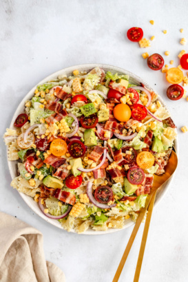 healthy BLT pasta salad in a bowl