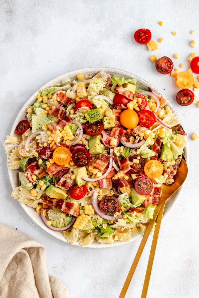 healthy BLT pasta salad in a bowl