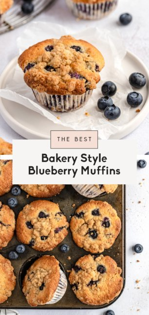 collage of the best blueberry muffin recipe
