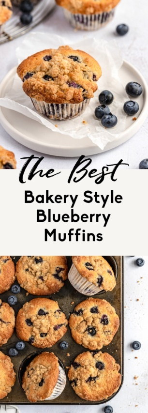 collage of the best bakery style blueberry muffins