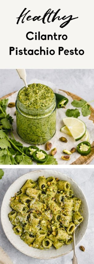 collage of cilantro pistachio pesto recipe