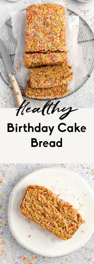 collage of healthy birthday cake bread recipe