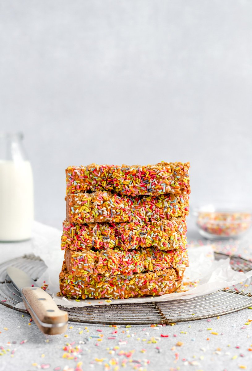slices of healthy birthday cake bread in a stack