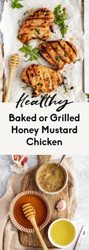 collage of honey mustard chicken