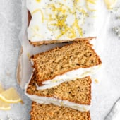 healthy lemon poppy seed bread cut into slices