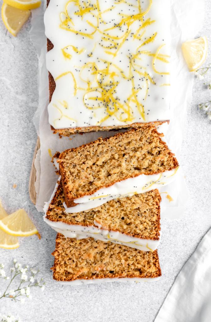 healthy lemon poppy seed bread cut into slices