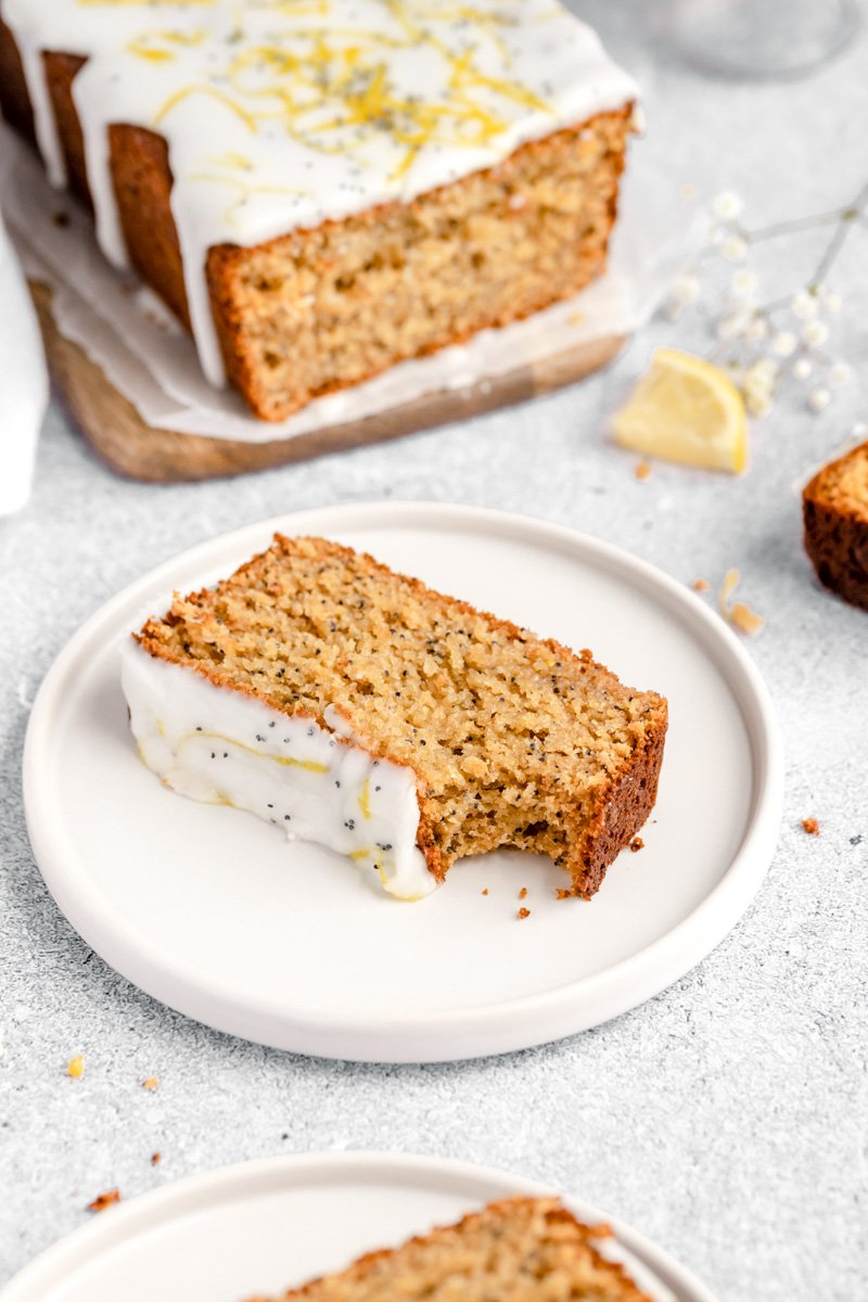 slice of healthy lemon poppy seed bread on a plate
