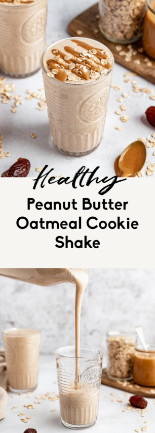 collage of a healthy peanut butter cookie shake