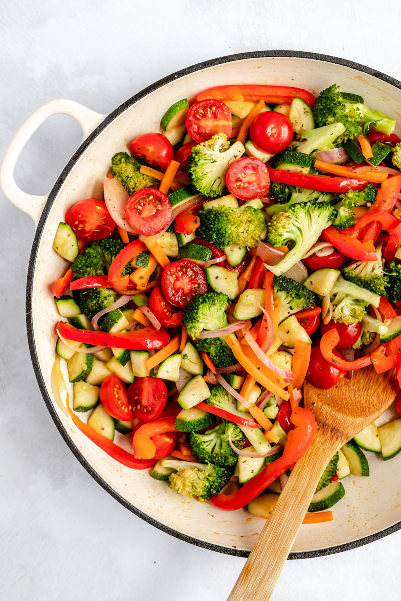 vegetables in a pot to make dairy free pasta primavera
