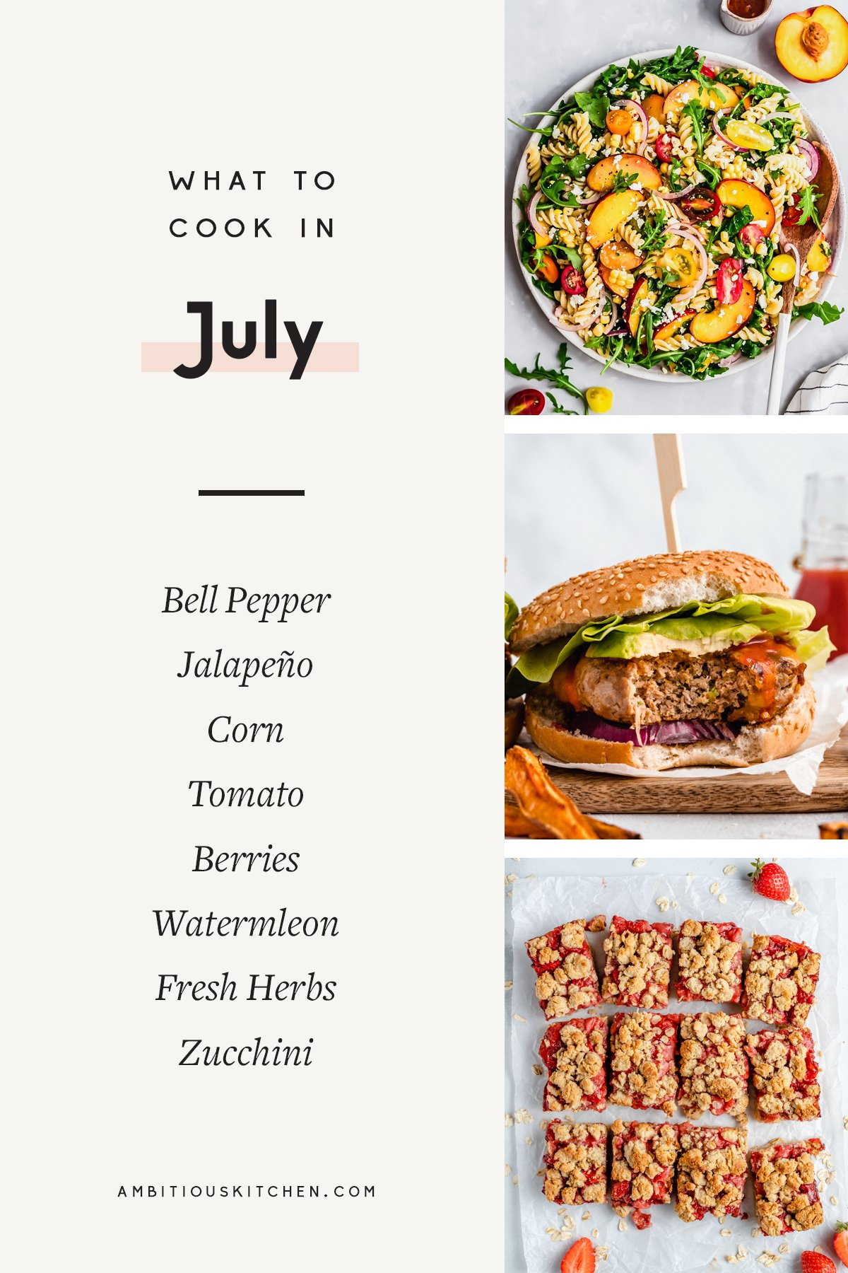 collage of recipes to cook in july with text overlay