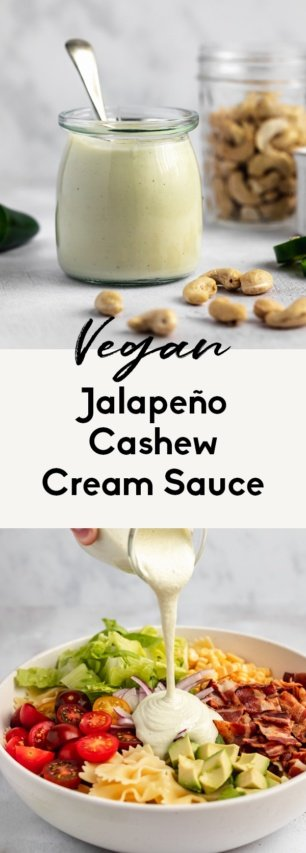 collage of vegan cashew cream sauce