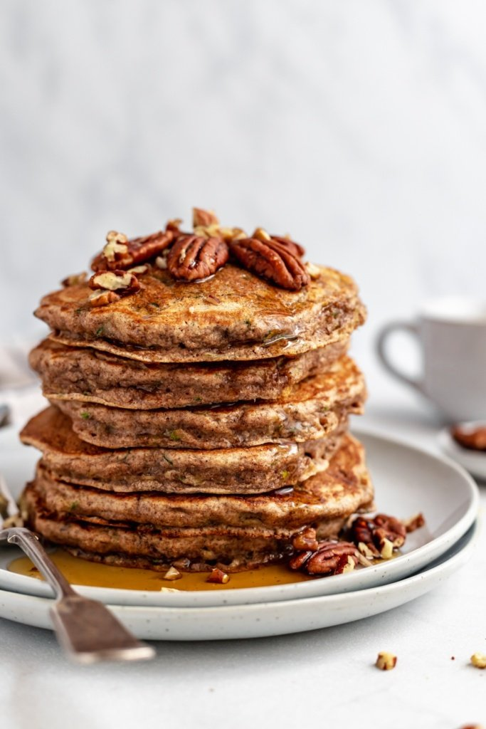 stack of healthy zucchini pancakes on a plate