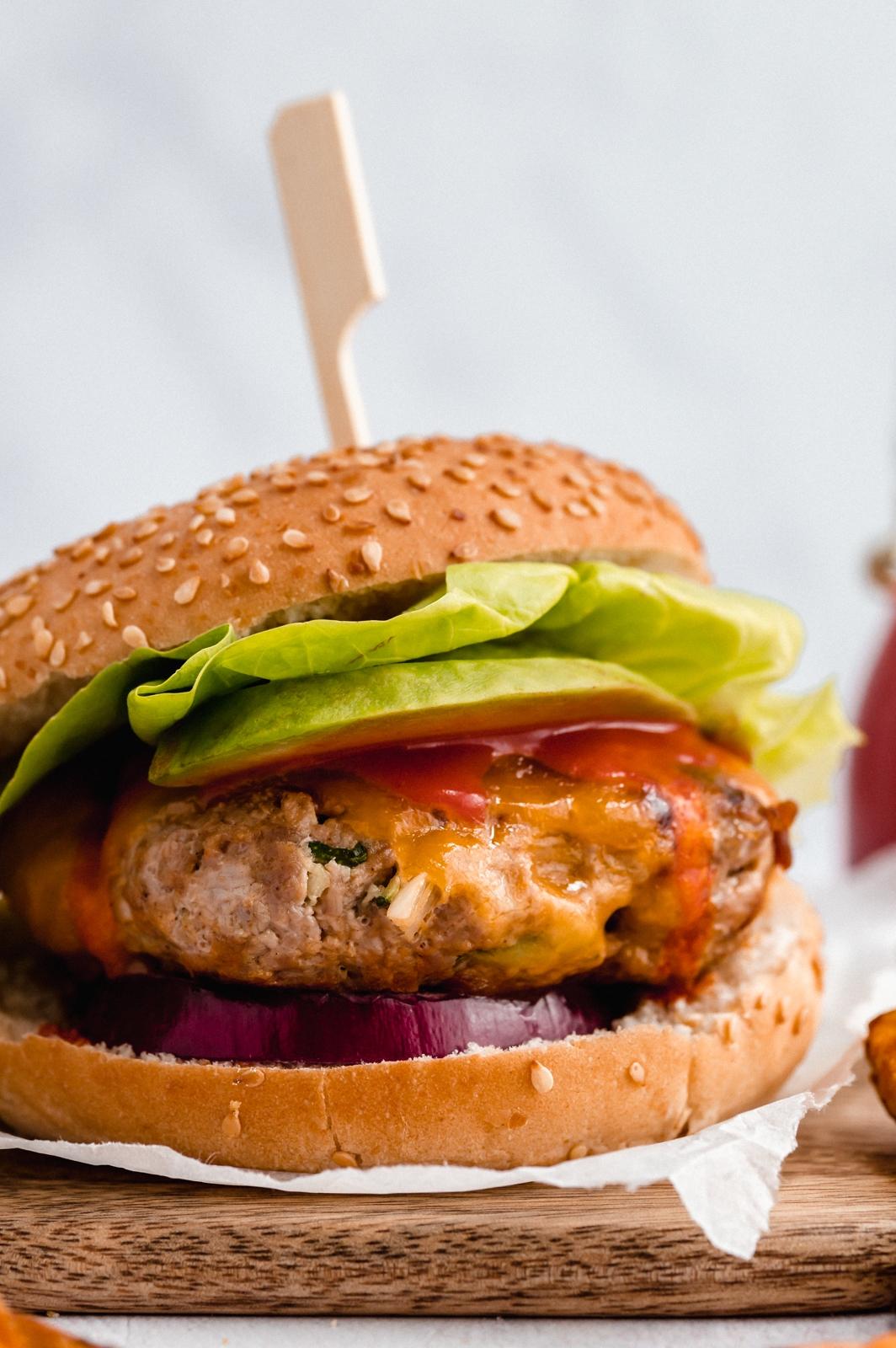 up close photo of a homemade buffalo chicken zucchini burger