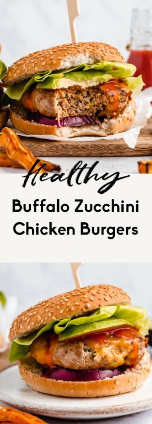 collage of buffalo zucchini chicken burgers