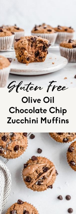 collage of gluten free chocolate chip zucchini muffins