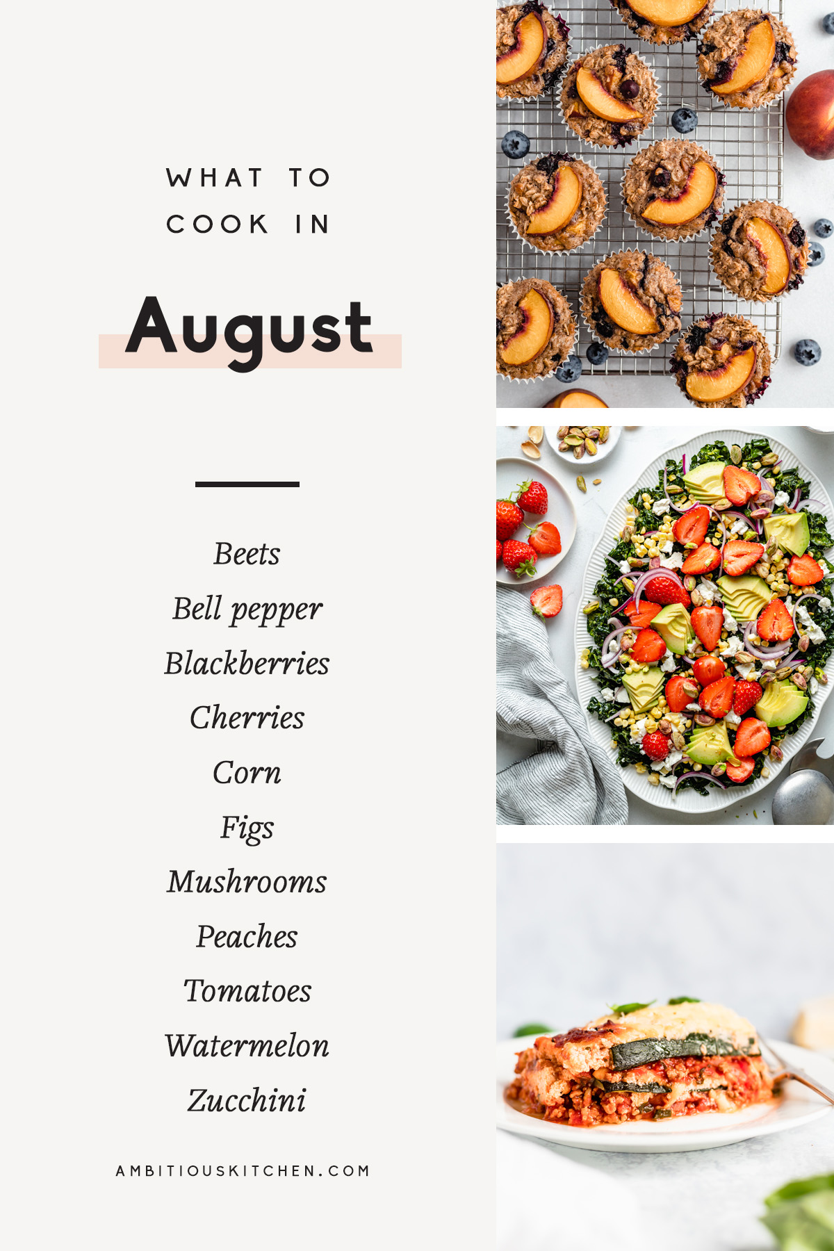 collage of recipes to cook in August