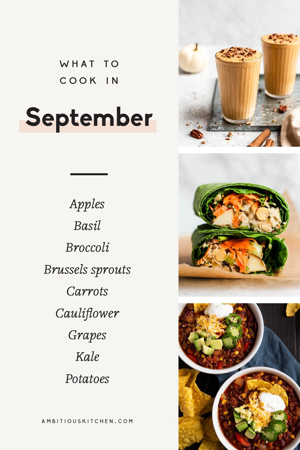 collage of recipes to cook in september with text overlay