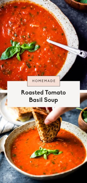 collage of homemade tomato basil soup