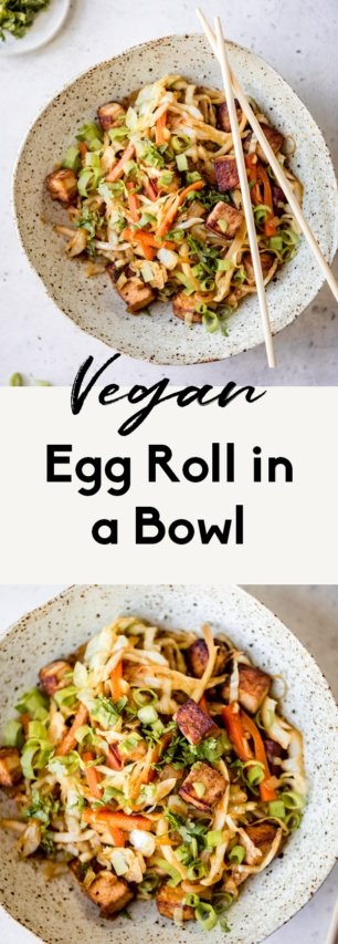 collage of a vegan egg roll in a bowl